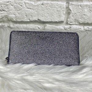 NWT Kate Spade Navy Glitter Zipper Wallet